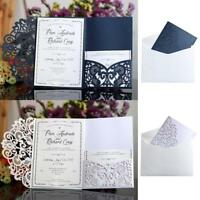 50/100pcs Fold Hollow Laser Cut Pocket Wedding Invitation Cards Inner Sheets US