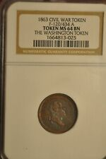 1863 CWT Civil war Washington Token Baker 467 GW 585 R9 Co F120/ 434a NGC MS64