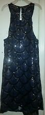 City Triangles Blue Dress Silver Sequence  Sz M
