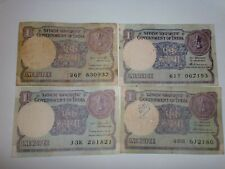 India Paper Money- 7 'One Rupee' Old Notes - 1984-1989 - Rare - 3 Signatories