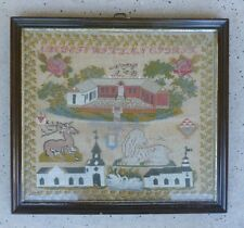 Charming 19Th C Scandinavian Sampler Signed And Dated With Stag , Dog & School
