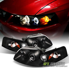 Blk 1999-2004 Ford Mustang GT SVT Cobra LED Halo Projector Headlights Headlamps