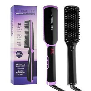 Women's Electric Straightener & Dryer Brush, Black & Purple Color