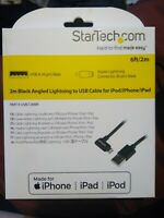 Startech 2m (6ft) Angled Black Apple 8-pin Lightning Connector to USB Cable