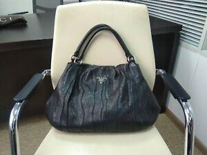 100% Authentic PRADA Shoulder Bag Black Leather