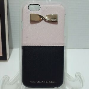 VICTORIA'S SECRET PINK BLACK GOLD BOW IPHONE 6 6S LEATHER HARD CASE SLEEVE HTF