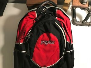 """Jansport """"Airzuit"""" Backpack Red Hiking 3 Compartment With Audio Pouch"""