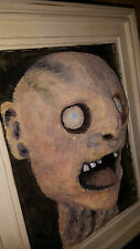 Ooak Gothic Horror 3D Framed Severed Zombie Head Trophy Wall Mount or Table Top