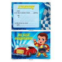 """Einladungen (8 Stück) """"Rennfahrer"""" zum Geburtstag Einladungskarten Karten"""