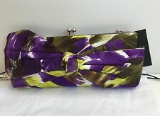 Hobbs Daria Plum Multi Clutch Bag New with Tags