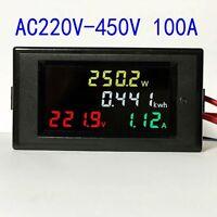 AC200v-450v 100a Color LCD electric energy power meter digital voltmeter ammeter