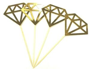 12 x Gold Diamond Cupcake Toppers /wedding engagement / bridal shower / wedding