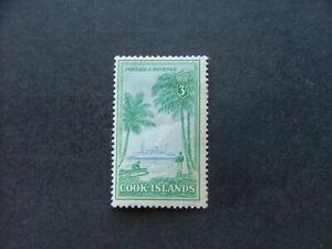 Cook Islands 1949 3/- light blue & bluish green SG159 MM