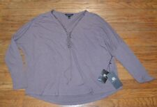 Rock & Republic Oversized Long Sleeve Shirt Lace up Neckline Size Large