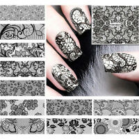 DIY 24 Sheets Decals Nail Art Decoration Stickers Full Water Transfer Black Lace