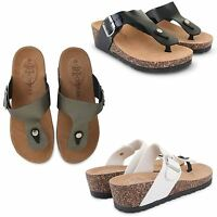 WOMENS LADIES WEDGE CORK MOULDED FOOTBED FLIP FLOPS SUMMER THONG SANDALS SHOES