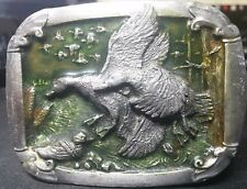 Geese Ducks Birds Aves in Flight C&J 1023 1985 Made in USA Vintage Belt Buckle