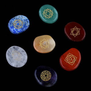7 Piece Engraved Chakra Stone  Crystal Reiki Healing With One Pouch uk seller !!