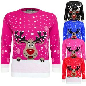 Kids Girls Boy Knitted Reindeer Rudolf Christmas Xmas Novelty Jumper Sweater Top
