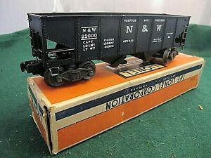 C-7 LIONEL #3456 NORFOLK & WESTERN Operating Hopper Car With Original Box + coal