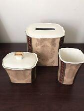 Croscill Townhouse Bath, Ceramic Tissue Box Cover, Tumbler, and Jar