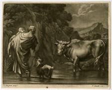 Antique Master Print-LANDSCAPE-GENRE-Berchem-Anonymous-ca. 1700