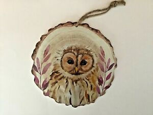 New round Tawny Owl wildlife nature wooden hanging plaque gift cute Free P & P