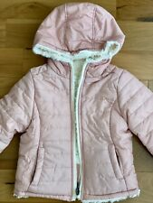 Winter Hooded Puffer Jacke Girls  Reversible, Pink & White.Size 4T Kids Toddlers