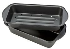 Meatloaf Pan With Insert Non-Stick Metal Kitchen Bakeware Healthy Cookware Black