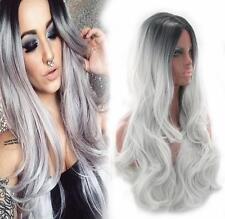 Women's Long curvy Full Wig Heat Resistant Hair Black Ombre Grey Party Wigs