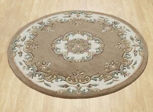 Round Pastel Beige Cream Chinese Aubusson Hand tufted 100% Wool Rugs 120x120cm