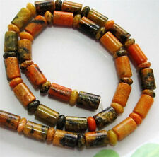 6x9mm Yellow Azurite Chrysocolla Gemstone Column Loose Bead 15""