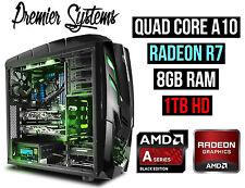Custom AMD 3.8GHZ Quad Core RADEON Gaming Desktop Computer PC 8GB 1TB Windows 10