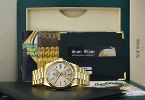ROLEX 36mm Mens 18kt Gold Day Date PRESIDENT Champagne Stick 118238 SANT BLANC