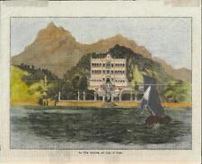Stampa antica CADENABBIA VILLA CARLOTTA Lago di Como 1871 Old antique print