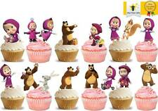 26 Masha And The Bear Birthday Cup Cake Edible Decorations Toppers STAND UP