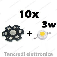 10X Chip led 3W bianco caldo 600mA 3V 3.6V dissipatore alluminio lampadina bulb