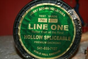 BLACK Braided Dacron Hollow Spliceable Fishing Line 2500 yards 20# Jerry Brown