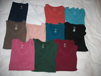 St Johns Bay Long Sleeve Shirt Sz XL V-Neck 100% Cotton Multiple Colors Womens