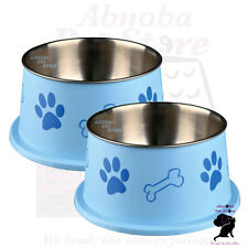 TWO BLUE Long Ear Bowls For Spaniel Type Dog Food Water Stainless Steel non-slip
