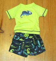 NEW Gymboree Boys Swimsuit Lizard Print Green Blue Swim Trunks Rash Guard 0-3 M