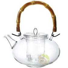 Théière et filtre en verre anse bambou Escale Sensorielle thé infusion tisane