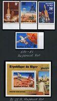 Space Raumfahrt 1979 Niger Apollo 680-683 + Block 25 Red Gold Overprint MNH/1215