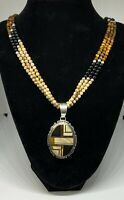 Signed Handmade Native American Melvin Thomas Gemstone Inlay Necklace & Earrings