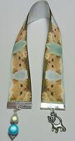 Handmade cats ribbon Bookmark with charm + beads