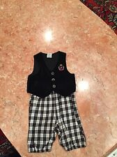 Baby VELOUR vest and CHECKERED PANTS SET 12 months
