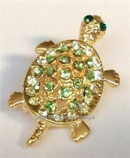 Gold Crystal Sea Life Turtle Pin Brooch Pendant Plated Green Nautical Island USA