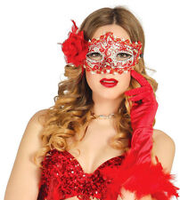 Ladies Red Mask & Rose Spanish Masquerade Ball Venice Fancy Dress Eyemask Masque