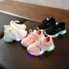 ChildrenBaby Girl Boy Breathable Mesh Led Luminous Sport Run Sneakers Shoes UK