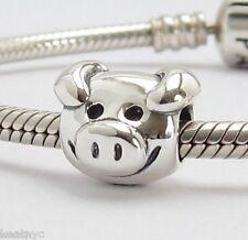 HAPPY LOVELY PIG CHARM Bead Sterling Silver.925 For European Bracelet 792